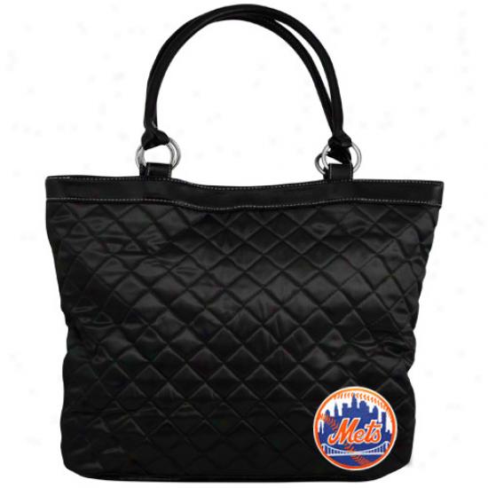 New York Mets Ladies Black Quilted Tote Bag