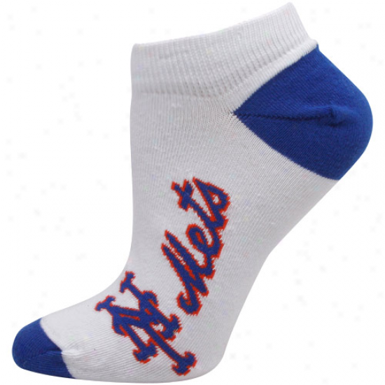 New York Mets Ladies White Arched Team Name Ankle Socks