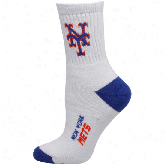 New York Mets Womens Dual-color Team Logo Crew Socks - White