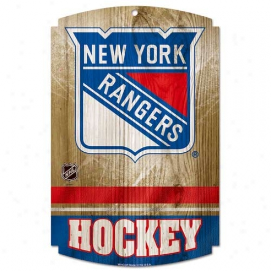 """new York Rangers 11"""" X 17"""" Wood Sign"""