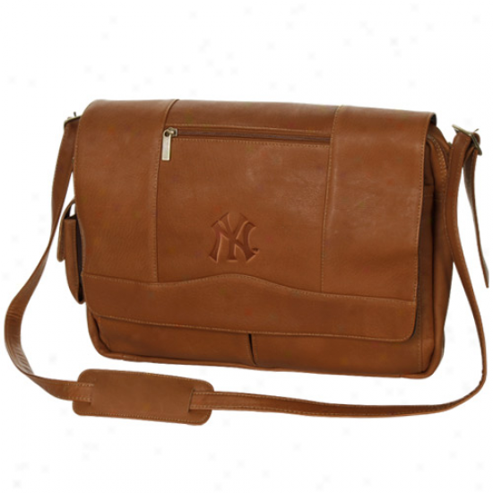 New York Yankees Brown Deluxe Leather Team Logo Laptop Messenger Bag