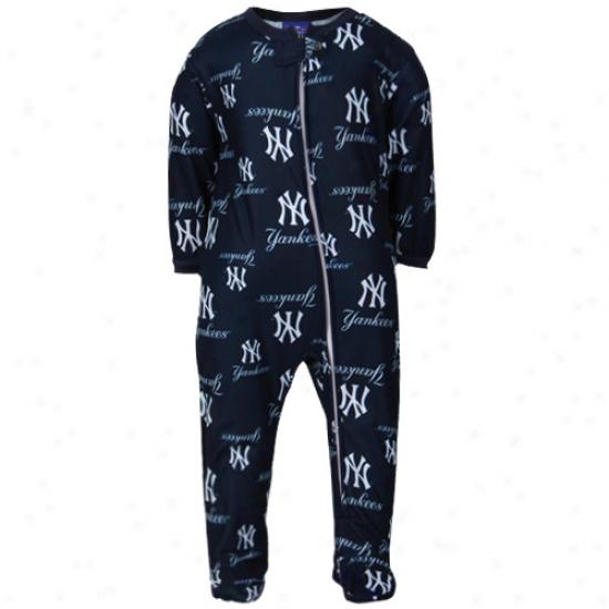 New York Yankees Infant Full Zip Raglan Coverall - Navy Blue
