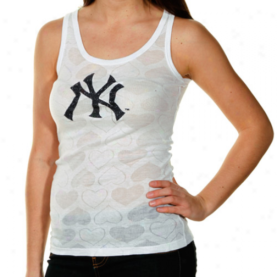 New York Yankees Ladies White Candy Hearts Sheer Ribbed Tank Top