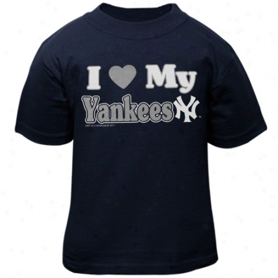 New York Ysnkees Toddler I Heart My Team T-shirt - Navy Blue