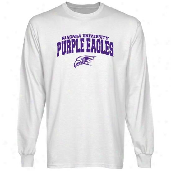 Niagara Purple Eagles White Logo Arch Long Sleeve T-shirt