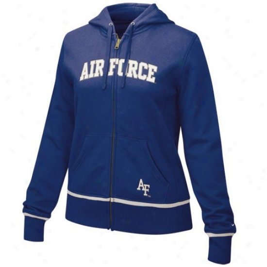 Nike Air Force Falcons Ladies Royal Blue Clasdic Full Zip Hoody Sweatshirt