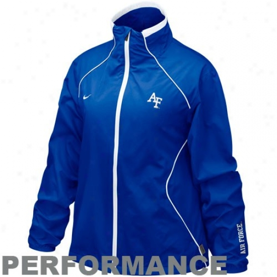 Nike Air Force Falcons Ladies Royal Blue Run Blitz Full Zip Performance Jacket