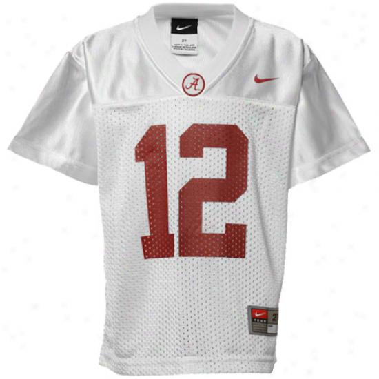 Nike Alabama Crimson Tide #12 Toddler Replica Football Jersey - White