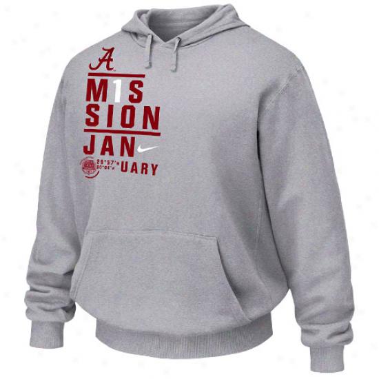 Nike Alabama Crimson Tide Ash 2012 National Championship Bound Mission January Pullovwr Hoodie Sweatshirt
