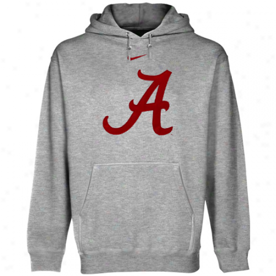 Nike Alabama Crimson Tide Ash Clqssic Logo Pullover Hoodie Sweatshirt