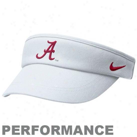 Nike Alabama Crimson Tide White Coaches Performance Adjustable Visor