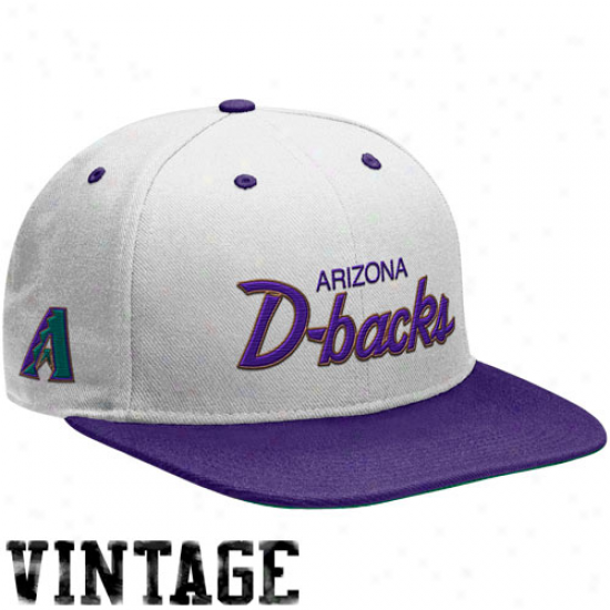 Nike Arizona Diamondbacks Whhite-purple Cooperstown Snapback Adjustable Hat