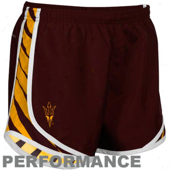 Nike Arizona State Sun Devils Ladies Maroon Striped Tempo Performance Shorts