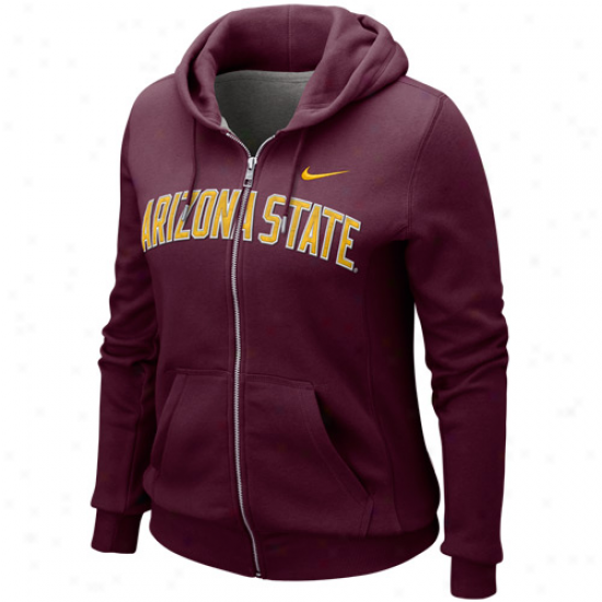Nike Arizona State Sun Devils Ladies Maroon University Classic Full Zip Hoodie Sweatshirt