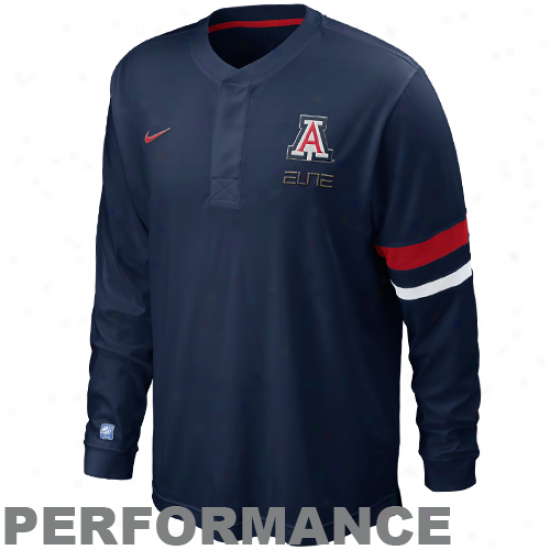 Nike Arizona Wildcats Elite Shootaround Long Sleeve Performance T-shirt - Navy Blue