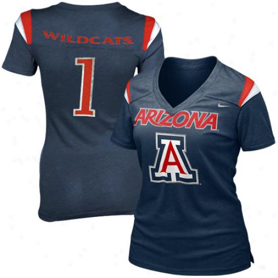 Nike Arizona Wildcats Ladies Replica Football Premium T-shirt - Navy Blue