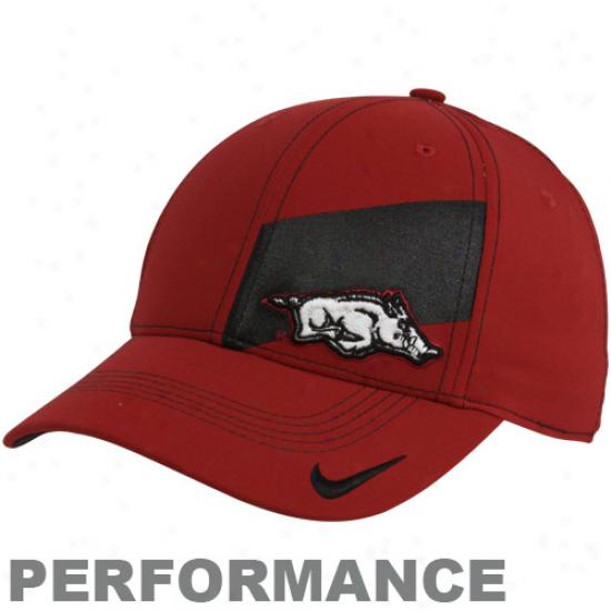 Nike Arkansas Razorbacks Cardinal Legacy 91 Players Performance Swoosh Flex Hat
