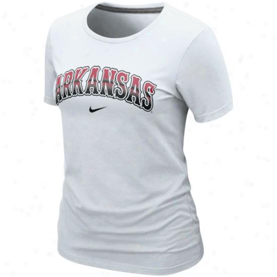 Nike Arkansas Razorbacks Ladies Seasonal Arch Crew T-sirt - White