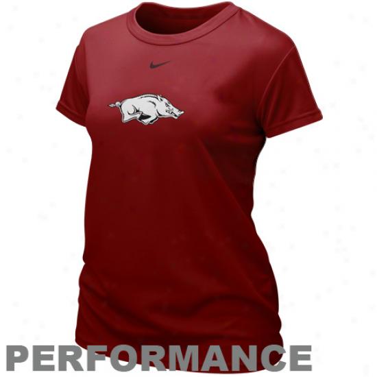 Nike Arkansas Razorbacks Ladies Team Logo Performance T-shirt - Cardinal