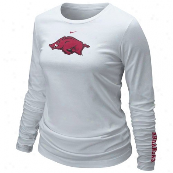 Nike Arkansas Razorbacks Ladies White Classic Logo Extended Sleeve T-shirt