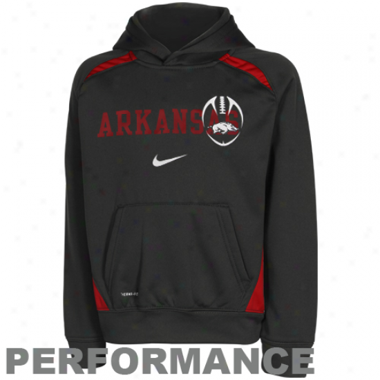 Nike Arkansas Razorbacks Prrschool Charcoal Football Performance Pullover Hoodie Sweatshirt