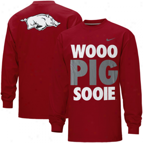 Nike Arkansas Razorbacks Wooo Pork Sooie Long Sleeve T-shirt - Cardinal