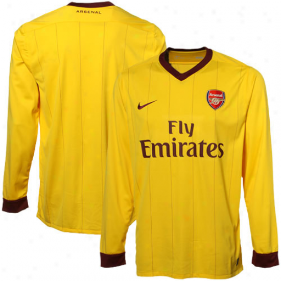 Nike Arsenal Away Lobg Sleeve Soccer Jersey 10/11 - Yellow