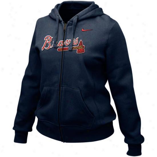 Nike Atlanta Braves Ladies Navy Livid Into Seams Full Zip Hoody Sweatshirt