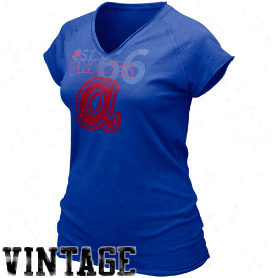 Nike Atlanta Braves Ladies Royal Blue Cooperstown Bases Loaded V-neck T-shirt