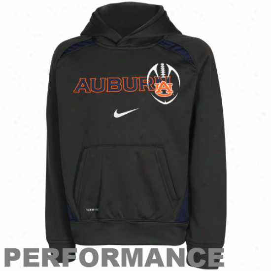 Nike Auburn Tigers Preschool Charcoal Football Performance Pullover Hoodie Sweatshirt