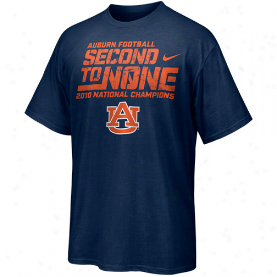 Nike Auburn Tigers Youth Navy Blue 2010 Bcs National Champions Second To None T-shirt