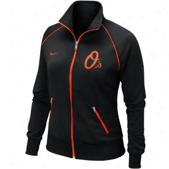 Nike Baltimore Orioles Womens Full Zip Track Jacket - Black