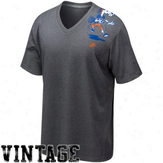 Nike Boise Statte Broncos Charcoal Vault Logo Tri-blend V-neck T-shirt