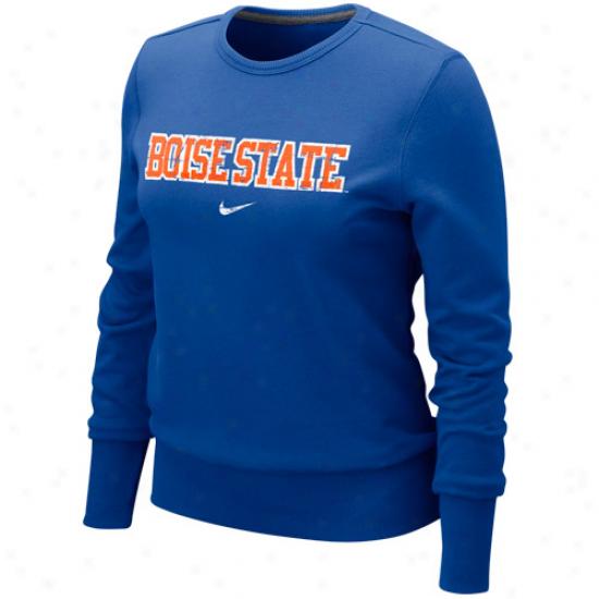 Nike Boise State Broncos Ladies Noble Blue Comfy Crew Pullover Sweatshirt