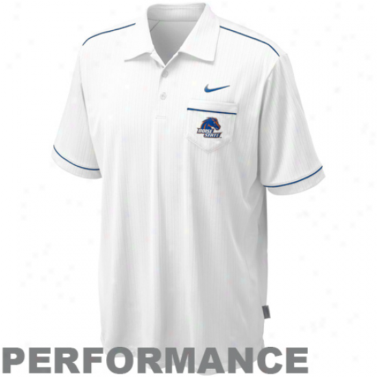 Nike Boise State Broncos White Conference Performance Polo