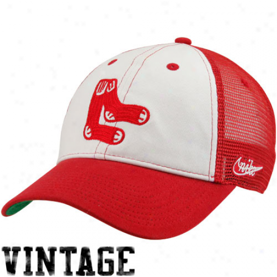 Nike Boston Red Sox Heritage 86 Vintage Relaxed Trucker Hat - Red-white