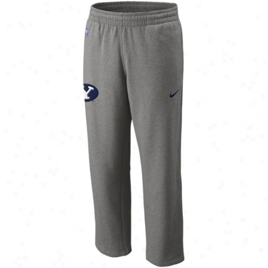 Nike Brigham Young Cougars Ash Basket6all Practice Fleece Pants