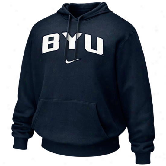 Nike Brigham Youthful Cougars Navy Blue Classic Arch Hoodie Sweatshirt