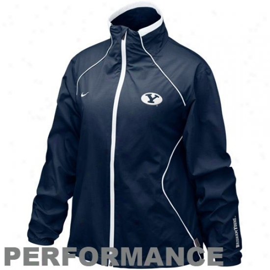 Niek Byu Cougars Ladies Navy Blue Run Blitz Full Zip Performance Jacket