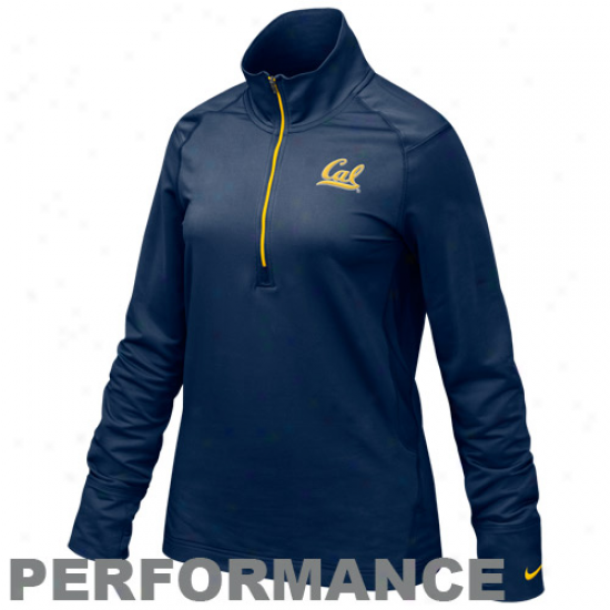 Nike Cal Bears Lzdies Navy Azure Quartet Zip Pullover Performance Jacket