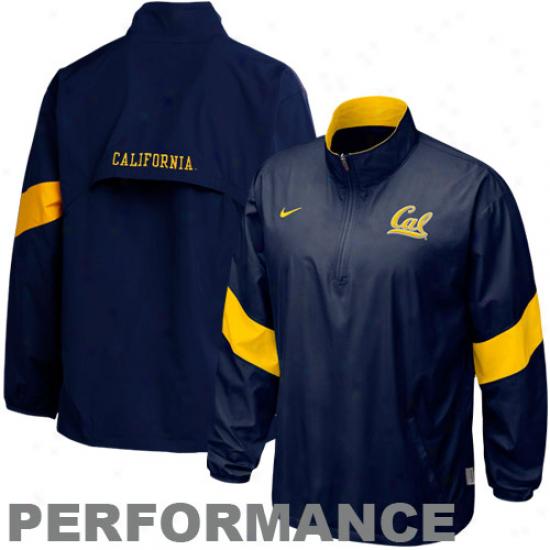 Nike Cal Bears Navy Blue Halback Pass Quarter Zip Pullover Composition Jacket