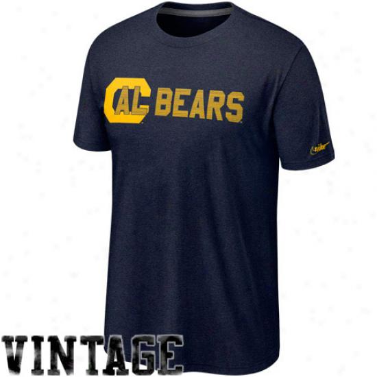 Nike Cal Bears Vauit Vintage Heathered T-shirt - Navy Blue