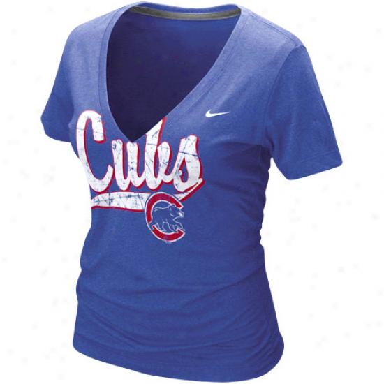 Nik Chicago Cubs Ladies Royal Blue Relay V-neck Tri-blend T-shirt