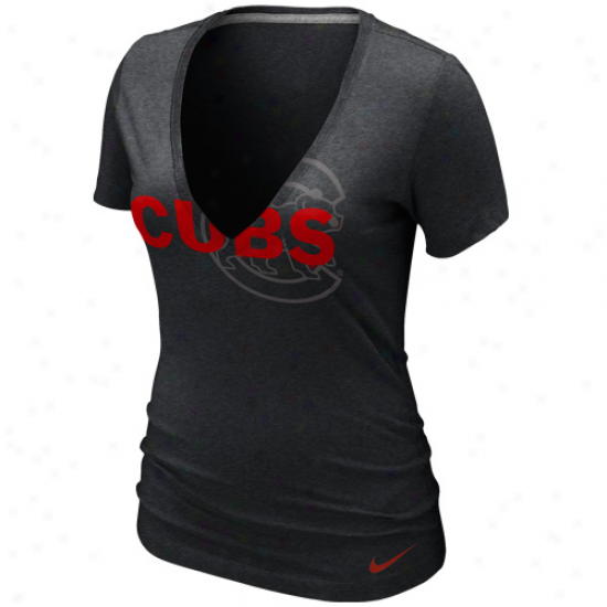 Nike Chicago Cubs Ladies Stand Out Tru-blend Deep V-neck T-shirt - Charcoal