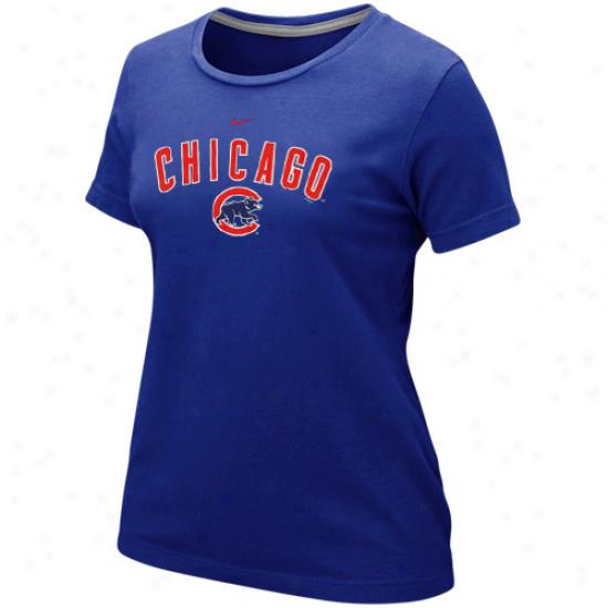 Nike Chicago Cubs Ladies Wordmark Crew T-shirt - Royal Blue