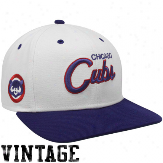 Noke Chicago Cubs White-royal Blue Cooperstown Snapback Adjustable Hat