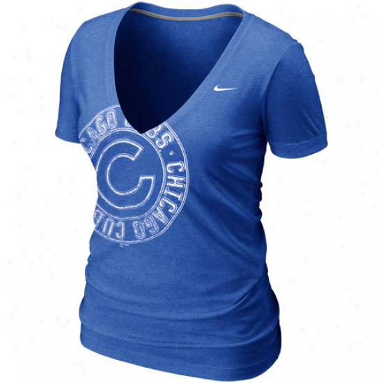 Nike Chicago Cubs Womens Deep V Offset Logo T-shirt - Royal Blue