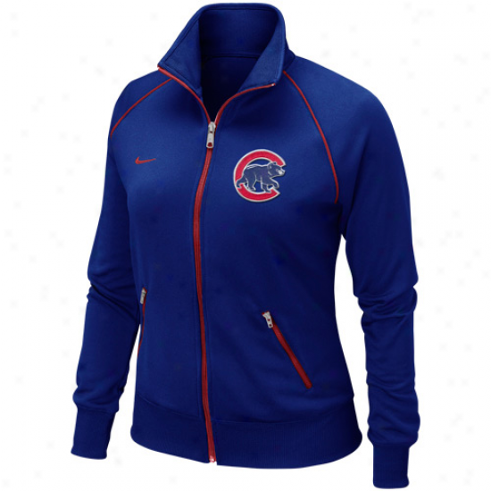 Nike Chicago Cubs Womens Satiated Zip Track Jacket - Royal Blue