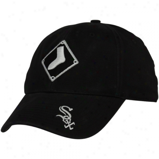 Nike Chicago White Sox Black Legacy 91 Washed Logo Swoosh Flex Hat
