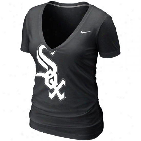 Nike Chicago White Sox Womens Deep V Burnout T-shirt - Black